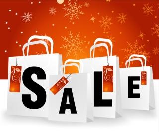ウィンター セールの紙袋 winter sale shopping bags イラスト素材