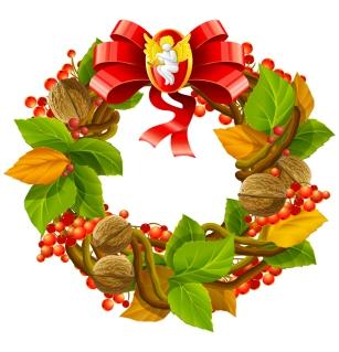 クルミ飾りのクリスマスの花輪 Christmas decoration wreath of walnut leaves イラスト素材