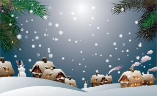 雪が降るクリスマスの夜 Christmas night snow house イラスト素材