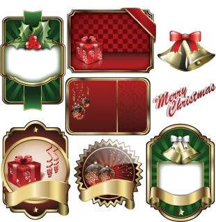 光沢あるクリスマス ラベル christmas badge shield vector label イラスト素材