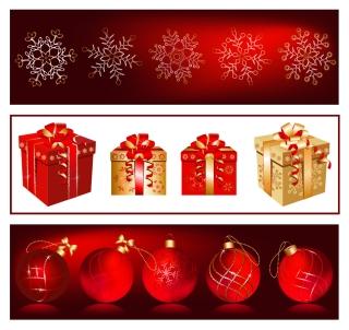 金色と真紅が基調のゴージャスなクリスマス ギフト gorgeous christmas gift vector イラスト素材1