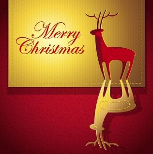 トナカイを型抜きした金色のクリスマス・カード creative christmas cards vector イラスト素材