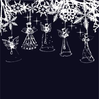 クリスマスを祝う天使の背景 angel christmas background vector イラスト素材4