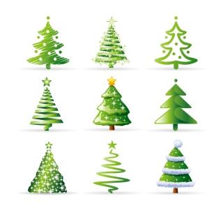 お洒落なクリスマス・ツリーのイラスト variety of cartoon christmas tree イラスト素材
