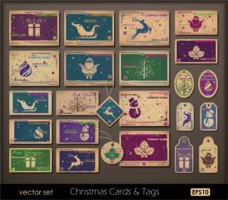 クリスマス・カードとタグのテンプレート christmas around the product イラスト素材