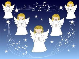 クリスマスを祝う天使の背景 angel christmas background vector イラスト素材5