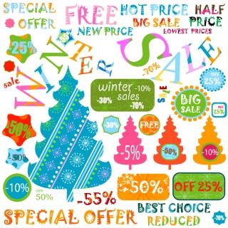 ウィンター セールの割引きステッカー Christmas sale stickers イラスト素材