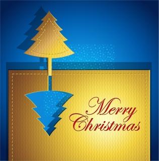 金色のツリーを切り抜いたクリスマス・カード creative christmas cards イラスト素材