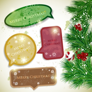クリスマス飾りの吹き出し christmas notes vector イラスト素材