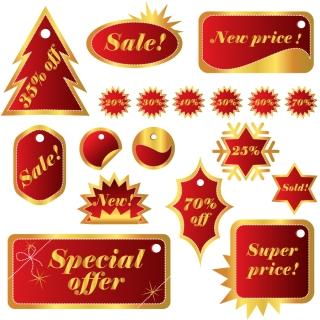 クリスマスを祝うラベル christmas celebration labels イラスト素材
