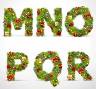 クリスマス飾りで作ったアルファベット文字 christmas ornaments composed of letters イラスト素材