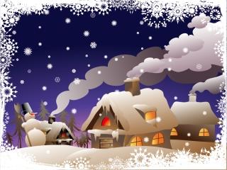 ロマンチックなクリスマスの夜 cartoon christmas ornaments background イラスト素材1