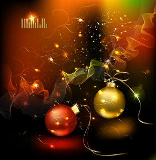 美しく輝くクリスマス ボールの背景 star studded christmas ball background イラスト素材1