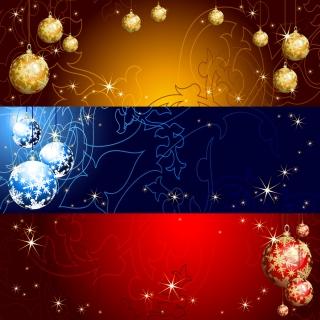 美しく輝くクリスマス ボールの背景 star studded christmas ball background イラスト素材4