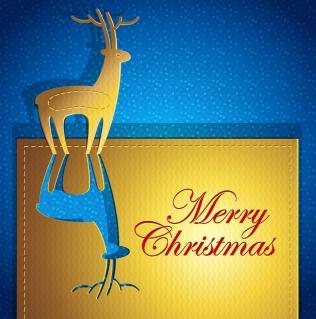 金色のトナカイを型抜きしたクリスマス・カード creative christmas cards イラスト素材