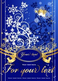クリスマスを祝う天使の背景 angel christmas background vector イラスト素材1