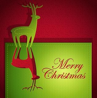 トナカイを切り抜いたクリスマス・カード creative christmas cards イラスト素材