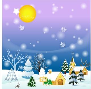 雪降るクリスマスの風景 cartoon christmas background イラスト素材2