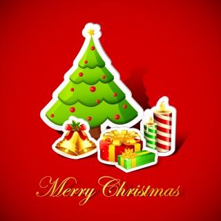 クリスマス素材の切り絵風背景 Christmas trees, bells, decorations background イラスト素材