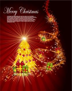 輝くクリスマス・ツリーとギフト ボックス Christmas trees, gift boxes イラスト素材