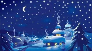 ロマンチックなクリスマスの夜 cartoon christmas ornaments background イラスト素材3