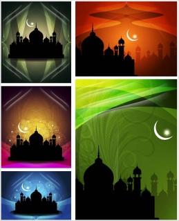 モスクのシルエットの背景 backgrounds with mosque silhouettes イラスト素材