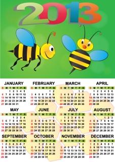 新年のカレンダー テンプレート セット Set of 6 vector 2013 calendar templates イラスト素材5