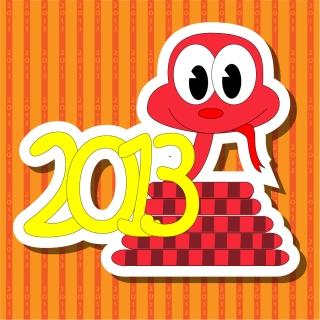 干支の蛇を描いた漫画風イラスト 2013 New Year snake backgrounds and illustrations in cartoonish style イラスト素材1