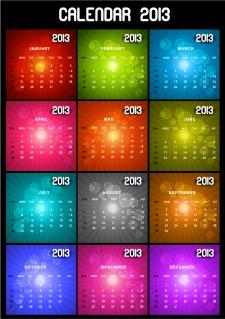 新年のモダンなカレンダー テンプレート New Year 2013 modern calendar designs イラスト素材3
