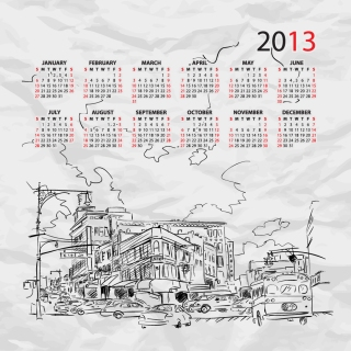 街のスケッチが背景のカレンダー テンプレート 2013 calendars with sketches of city イラスト素材4