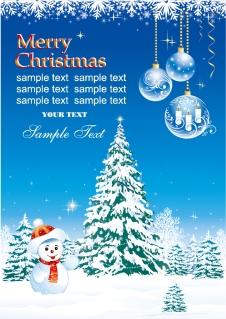 雪だるまとクリスマス・ツリーの背景 vector christmas snow イラスト素材4