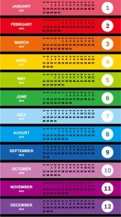 鮮やかな色の新年のカレンダー テンプレート modern design 2013 calendar templates in vivid contemporary style イラスト素材2