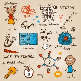 手書きの学校に関する落書き・イラストhand drawn school doodles and illustrations イラスト素材2