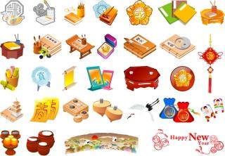 中国の新年に因む素材 vector elements of chinese new year イラスト素材