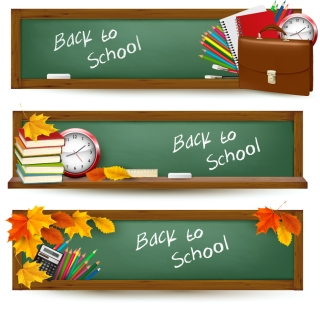 学校の黒板と文房具のバナー school banner templates with blackboard and some stationery イラスト素材