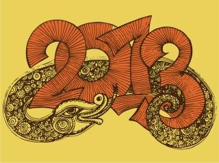 干支の蛇で象る新年の数字 New Year 2013 snake backgrounds イラスト素材2