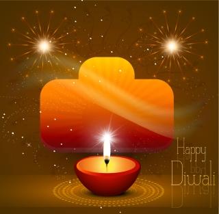 ヒンドゥー教の新年を祝うハッピーディワリ NEW YEAR CANDLE イラスト素材