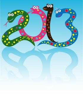 干支の蛇で象る新年の数字 New Year 2013 snake backgrounds イラスト素材4