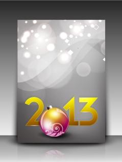 新年向けのお洒落なフライヤー テンプレート 2013 New Year flyers designs in trendy modern style イラスト素材4