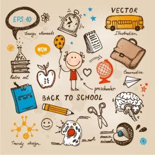 手書きの学校に関する落書き・イラストhand drawn school doodles and illustrations イラスト素材1