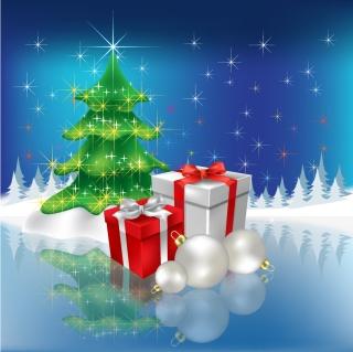 幻想的なクリスマス・ツリーの背景 christmas vector background dream イラスト素材1