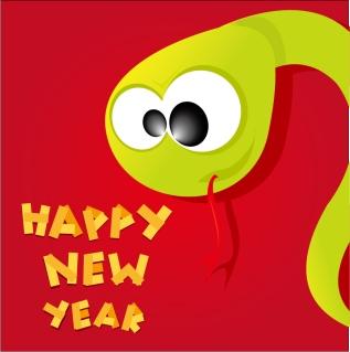 新年を祝う干支の蛇の背景 Cartoon 2013 snake New Year cards イラスト素材1