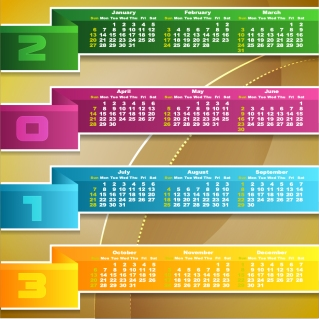 新年のモダンなカレンダー テンプレート New Year 2013 modern calendar designs イラスト素材1