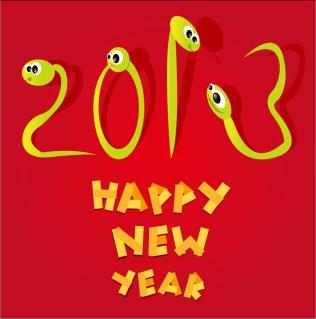 新年を祝う干支の蛇の背景 Cartoon 2013 snake New Year cards イラスト素材2