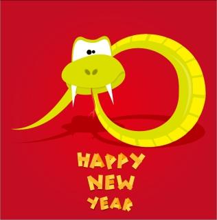 新年を祝う干支の蛇の背景 Cartoon 2013 snake New Year cards イラスト素材4