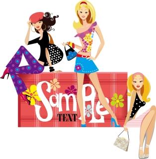 買い物を楽しむ女性 shopping girls in cartoon style イラスト素材3