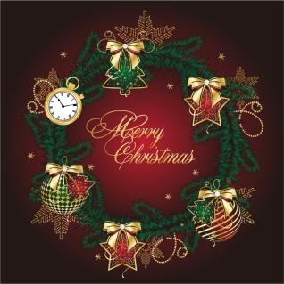 クリスマスのヒイラギの花輪 golden christmas theme vector イラスト素材