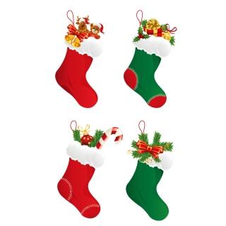 クリスマス・プレゼントの靴下 Christmas Stockings Vector Graphicタイトル イラスト素材