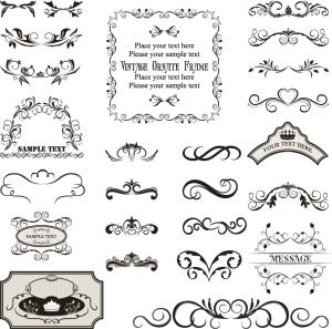 飾り付けたヴィンテージ フレーム・ボーダー vintage decorated frame templates and borders イラスト素材