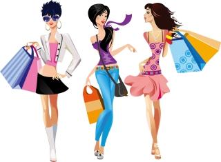 買い物を楽しむ女性 shopping girls in cartoon style イラスト素材5